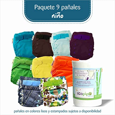 PAQUETE DE 9 PAÑALES ECOPIPO PARA NIÑO: Amazon.com.mx: Bebé