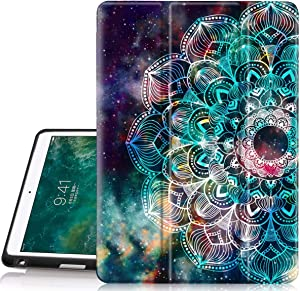 Hocase iPad Air 3rd Gen/iPad Pro 10.5 Case, Trifold Smart Case with Pencil Holder, Unique Pattern Design, Auto Sleep/Wake, Soft Back Cover for iPad A1701/A1709/A2152/A2123/A2153 - Mandala in Galaxy