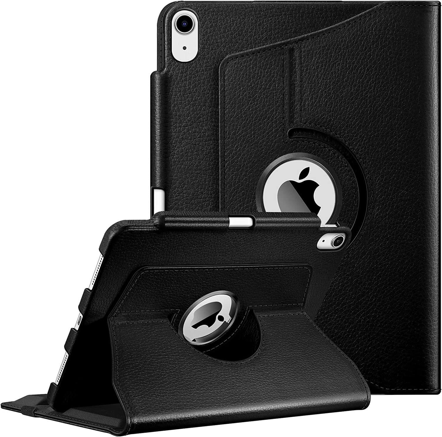 Fintie Case for iPad Air 4 10.9 Inch 2020 with Pencil Holder [Support 2nd Gen Pencil Charging] - 360 Degree Rotating Stand Cover with Auto Sleep/Wake for iPad Air 4th Generation, Black