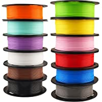 1.75mm 3D Printer Normal PLA Filament 12 Bundle, Most Popular Colors Pack, 1.75mm 500g per Spool, 12 Spools Pack, Total 6kgs Material with One Bottle of 3D Printer Stick Gift Mika3D
