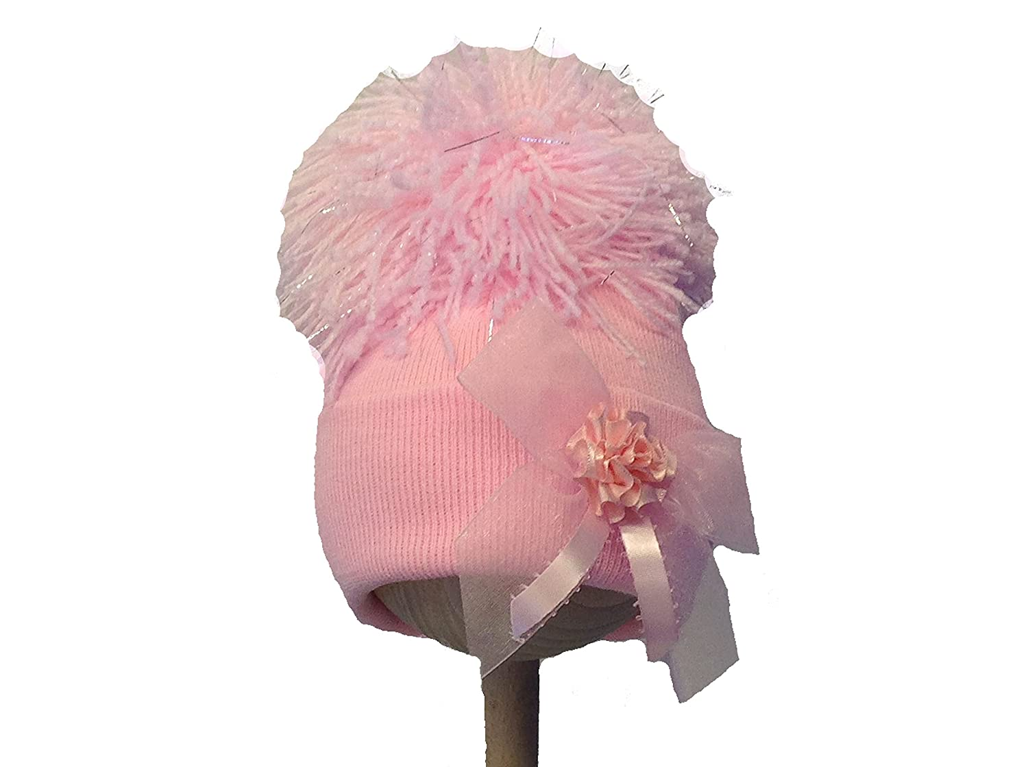 324d2c6e6b1 Baby Girls Knitted Pom Pom Hat With Ribbon and Flower Bow Design (12  Months)  Amazon.co.uk  Baby