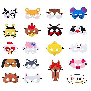 QH-Shop Máscaras de Animal de Fieltro para Niños con Cuerda Elástica Máscaras de Ojos para Cosplay Fiesta Halloween Navidad 18 Piezas