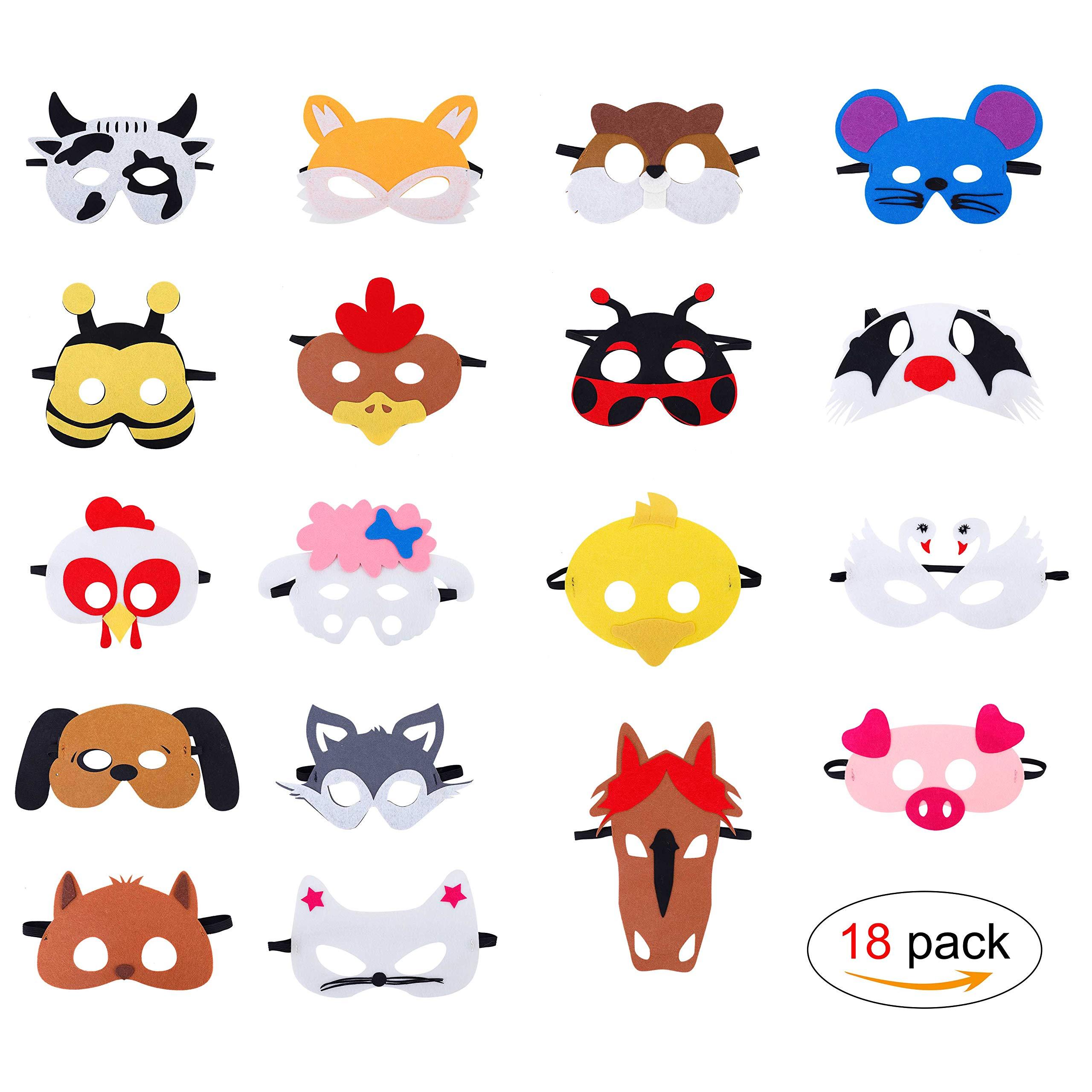 fd84ebbfd QH-Shop Máscaras de Animal de Fieltro para Niños con Cuerda Elástica  Máscaras de Ojos