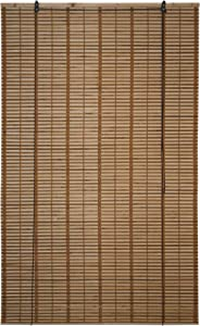ALEKO BBL39X64BR Light Brown Bamboo Roman Wooden Indoor Roll Up Window Blinds Light Filtering Shades Privacy Drape 39 X 64 Inches