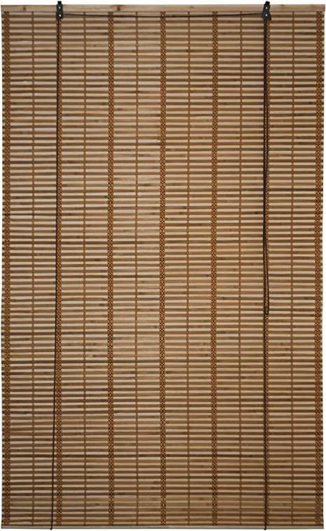 Amazon Com Aleko Bbl39x64br Light Brown Bamboo Roman Wooden Indoor Roll Up Window Blinds Light Filtering Shades Privacy Drape 39 X 64 Inches Kitchen Dining