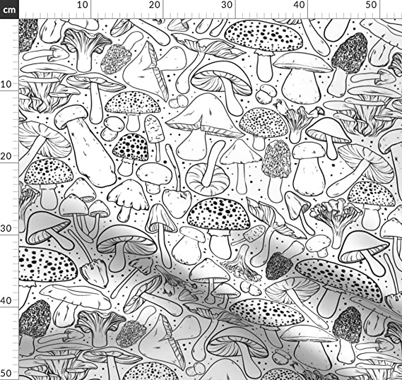 Spoonflower Fabric Mushrooms White Black Coloring Book Illustration Mushroom Woods Nature Printed On Plush Fabric By The Metre Sewing Baby Blankets Quilt Backing Plush Toys Amazon Co Uk Welcome
