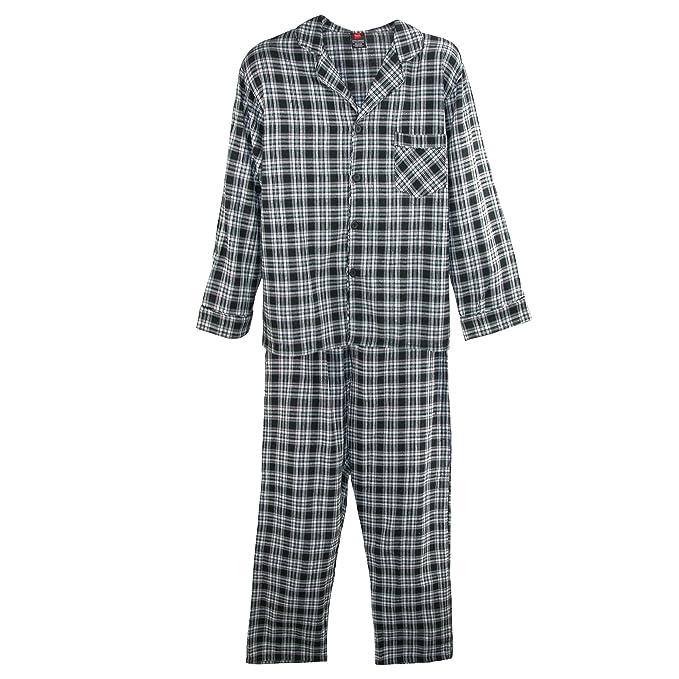 Hanes Conjunto de pijama de franela de algod¨®n grande y alto para hombres