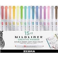 Zebra Pen Mildliner, Double Ended Highlighter, Broad and Fine Tips, Assorted colors, 15-Count