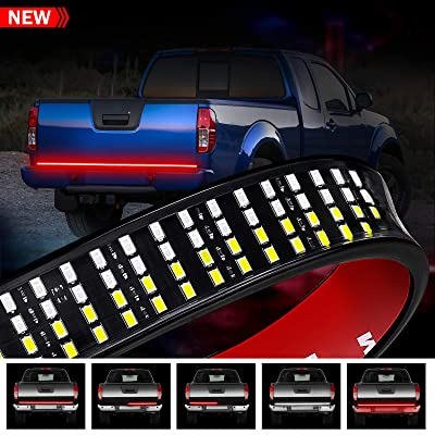 LED Truck Tailgate Light Bar, Wayup 60 Inch Quad Row LED Truck Bed Light Strip with White Reverse, Red Brake/Running, Red Turn Signal/Double Flash Strobe Light for Trucks Pickup Jeep RV VAN Dodge Ram: Automotive