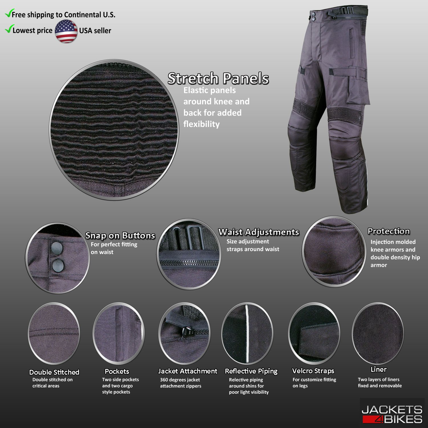 Motorcycle Textile Pants Waterproof Cruiser Touring Riding Armor Black 36w 30i by Jackets 4 Bikes (Image #4)