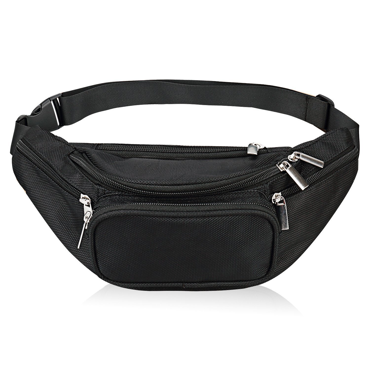 1ad0356db62a1 Fanny Pack 5-Zipper Pockets Nylon Waist Bag for Women Men Trainer for Yoga  Gym Workout Sport and Travel Running