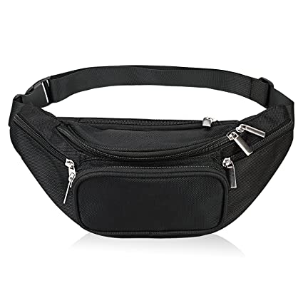 Fanny Pack 5-Zipper Pockets Waist Bag Belt Nylon Multifunctional for Women  Men Water Proof 63888c026d