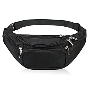 6c2a697642ff Fanny Pack 5-Zipper Pockets Nylon Waist Bag for Women Men Trainer for Yoga  Gym Workout Sport and Travel Running