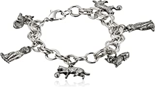 product image for 1928 Jewelry Women's Pewter 6 Cat Charm Bracelet, Silver, One Size