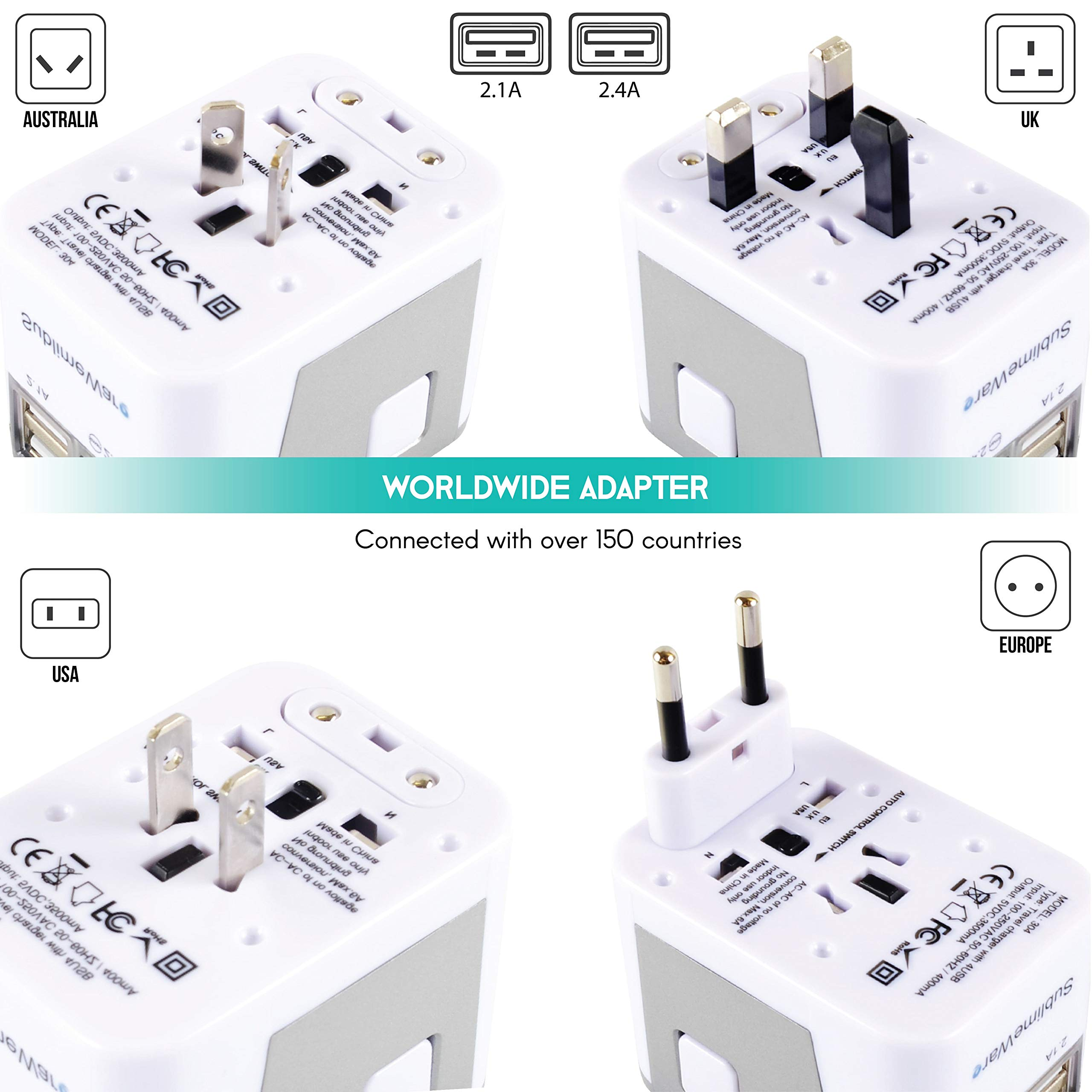 Power Plug Adapter - International Travel - (Pack of 2) w/4 USB Ports Work for 150+ Countries - 220 Volt Adapter - Travel Adapter Type C Type A Type G Type I f for UK Japan China EU Europe European by   SublimeWare   (Image #3)