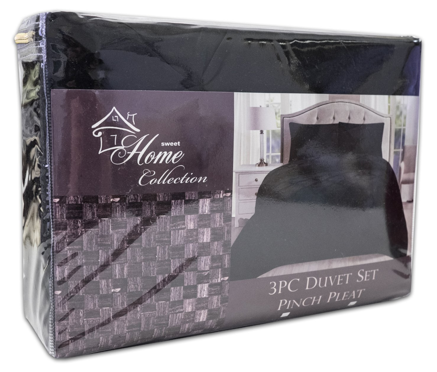 Sweet Home Collection 3 Piece Luxury Pinch Pleat Pintuck Fashion Duvet Set, King, Black