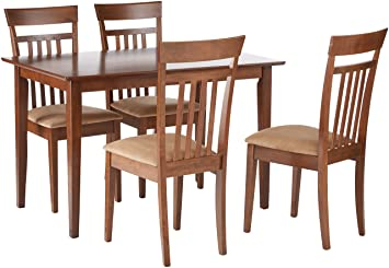 coaster home furnishings 5 piece modern transitional square dining set chestnut - Dining Set Furniture