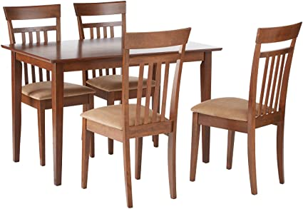 Coaster Home Furnishings 5 Piece Modern Transitional Square Dining Set    Chestnut