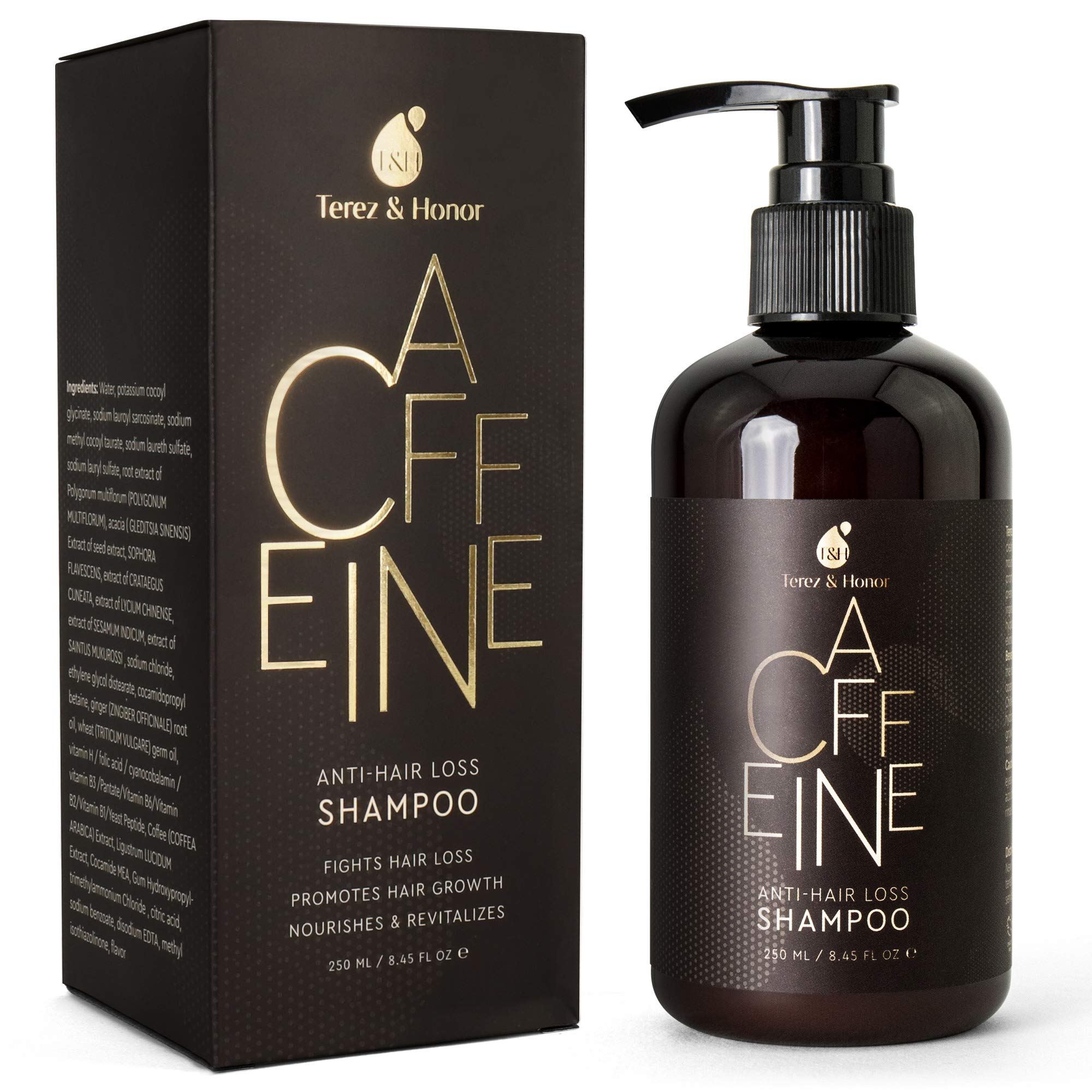 Caffeine Anti-Hair Loss and Hair Growth Shampoo, Volumizing Thinning Hair with Natural and Healthy Ingredients by TEREZ & HONOR