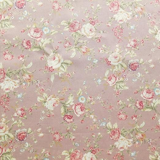 Tela floral de algodón con estampado de popelina, estilo vintage, color rosa oscuro con verde y crema, se vende por metros: Amazon.es: Hogar