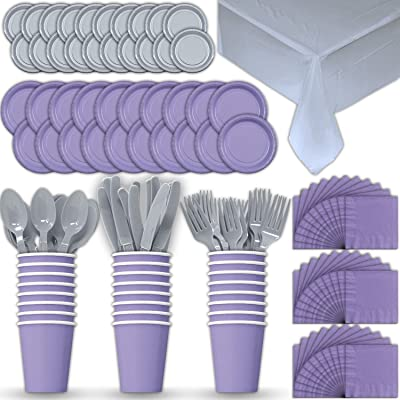 Paper Tableware Set for 24 - Lavender & Silver - Dinner and Dessert Plates, Cups, Napkins, Cutlery (Spoons, Forks, Knives), and Tablecloths - Full Two-Tone Party Supplies Pack: Toys & Games