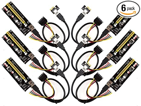 amazon com 6 pack pci e 16x to 1x powered riser adapter card w
