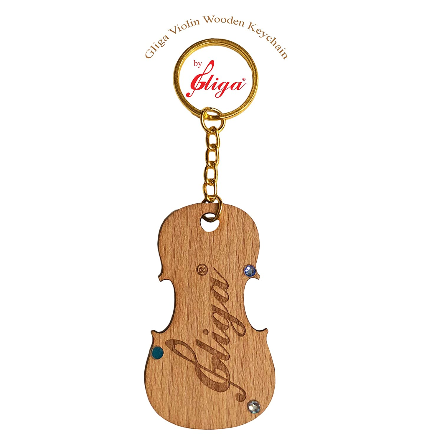 Amazon.com: Gliga Violin Engraved Wood Maple Keychain, Best ...