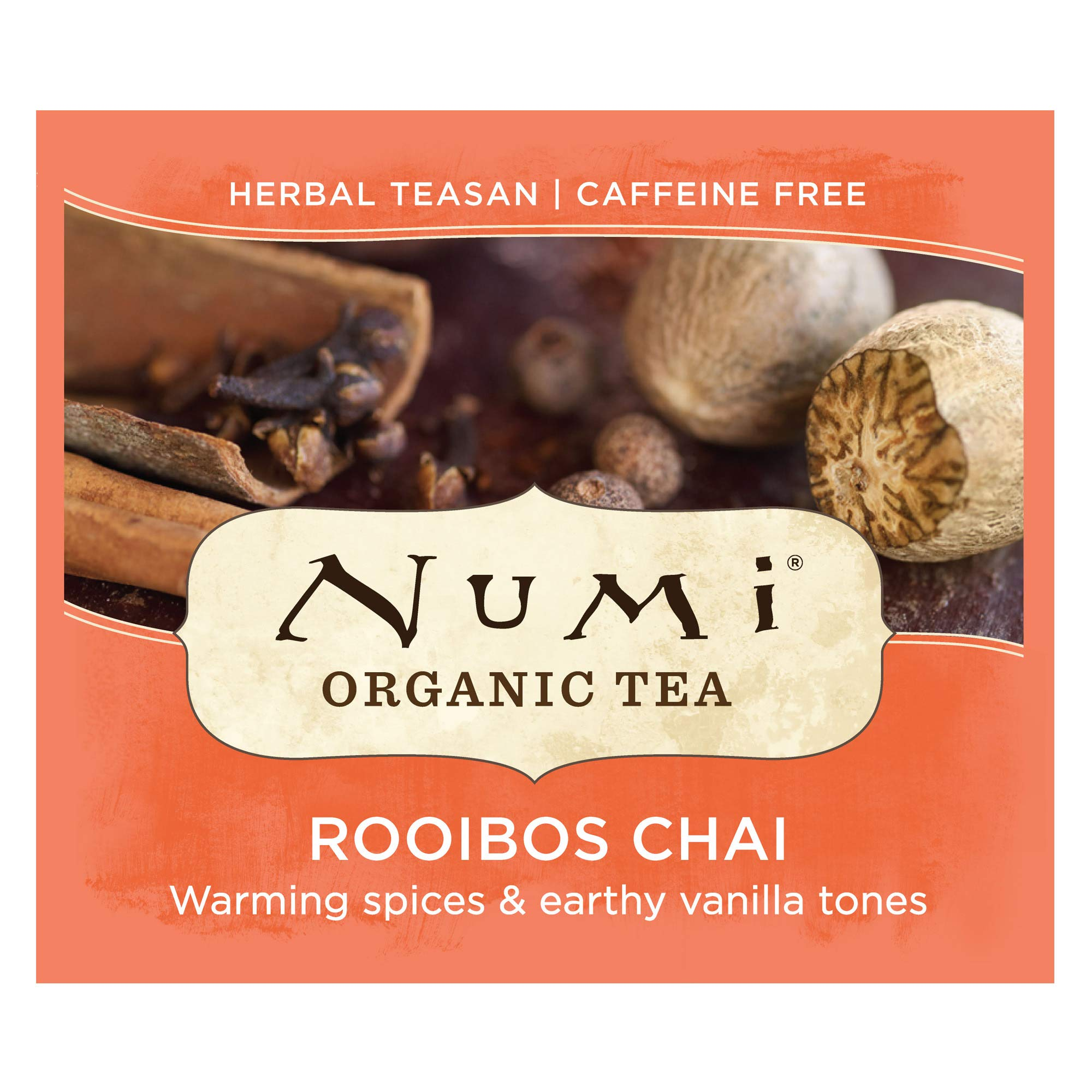 Numi Organic Tea Rooibos Chai, 100 Count Box of Tea Bags, Herbal Teasan, Caffeine-Free (Packaging May Vary) by Numi