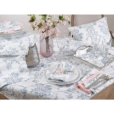 Occasion Gallery Indigo Toile Floral Table Runner 16 x72  Rectangular, 100% Linen
