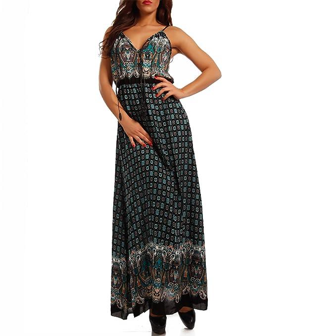 Vestido amplio de mujer con tirantes y estampado Beige/Paisley Talla única