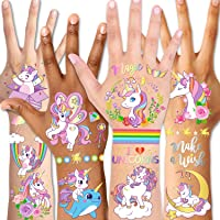 Temporary Tattoos for Kids(98pcs),Konsait Glitter Unicorn Tattoos for Children Girls Birthday Party Favors Supplies…