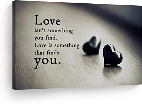 SmileArtDesign Love is Not Something You Find Love is Something That Finds You Quote Canvas Print Motivational Inspirational Wall Art Home Decor Living Room Ready to Hang Made