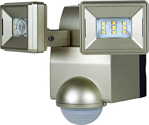 LB1870QCH 700 Lumen Battery Operated LED Motion Security Light, Twin Head Includes L-Bracket for Easy Mount Champagne