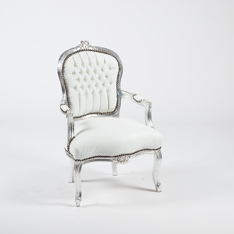 Way Home Store - Sillón barroco Luis de plata y piel sintética blanca, 63 x 65 x 94 cm