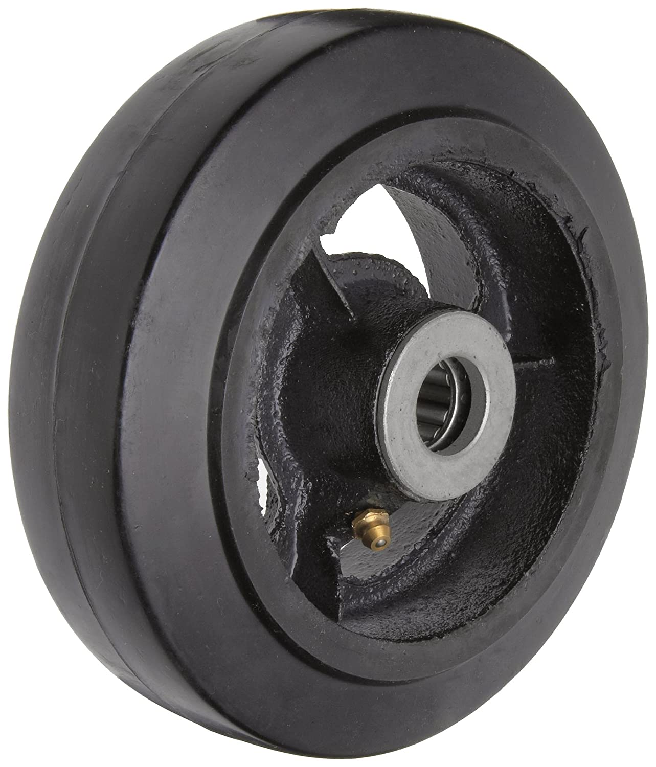 RWM Casters Mold On Rubber on Iron Wheel Roller Bearing 410 lbs Capacity 6 Wheel Dia 2 Wheel Width 2 7 16 Plate Length