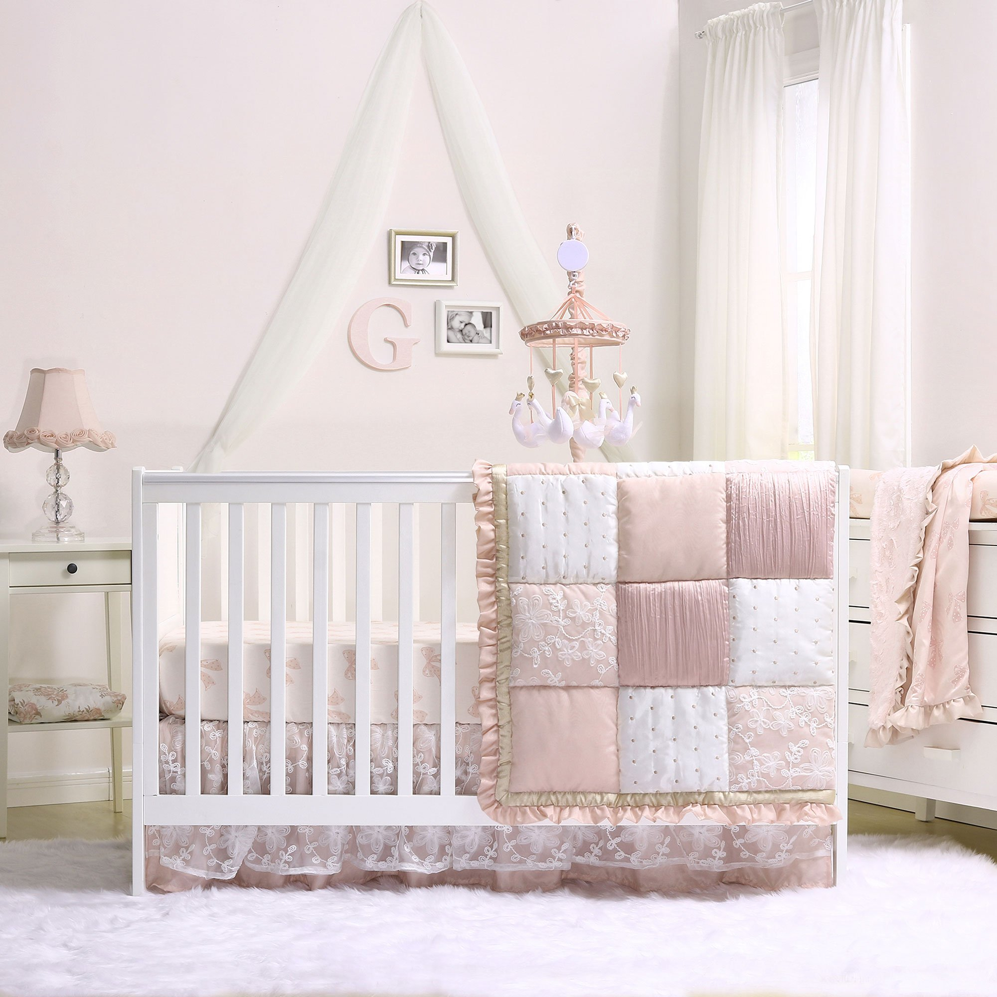 Grace 7 Piece Baby Girl Dusty Pink Crib Bedding Set by The Peanut Shell by The Peanut Shell