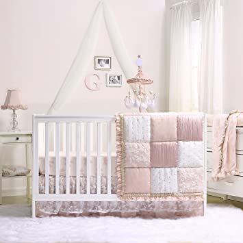 fa3c11be8f042 Grace 7 Piece Baby Girl Dusty Pink Crib Bedding Set by The Peanut Shell