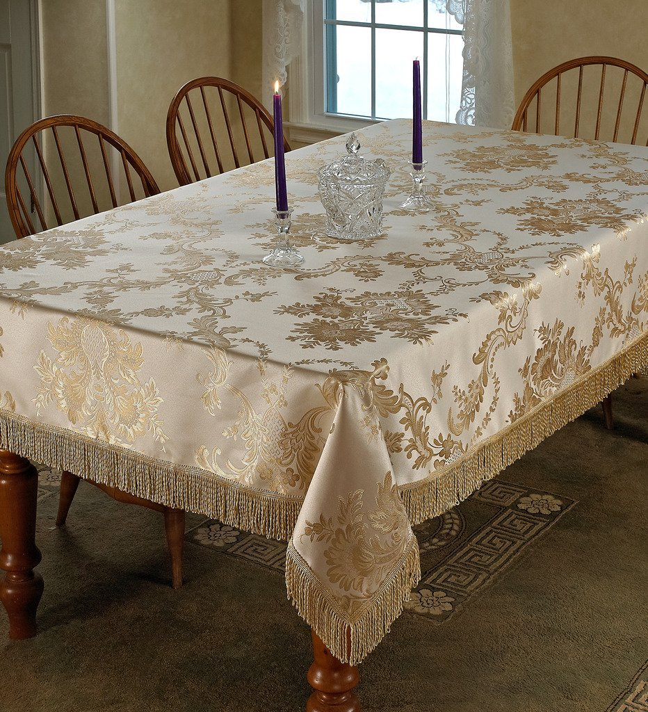 "Violet Linen Majestic Damask Design Oblong/Rectangle Tablecloth, 60"" x 102"", Beige"
