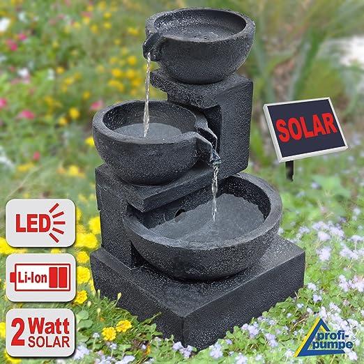 Fuente DE JARDÍN Solar, Fuente DE Agua Solar, Fuente Decorativa, LUZ DE JARDÍN, Bomba de Estanque para terraza, balcón, con Bomba de Arranque instantáneo con batería de Litio y luz LED.: Amazon.es: