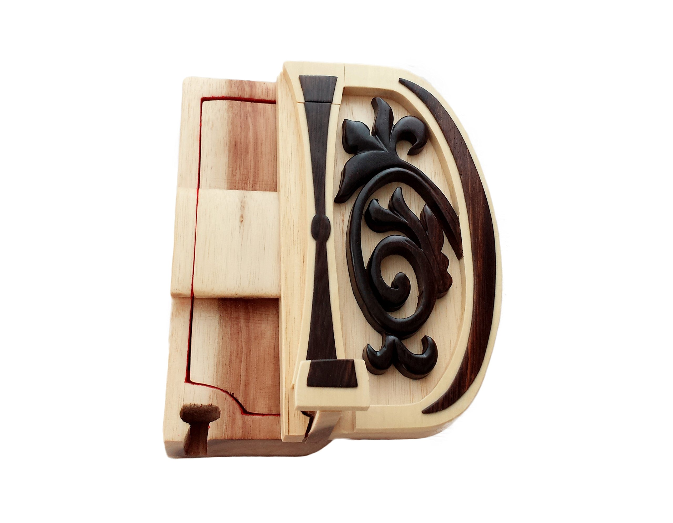 Letter D Initial hand-carved puzzle box with No Paints! No Stains! Hidden felt lined interior that hides jewelry, gift cards, or money. No two will ever be identical! Pet Carvers