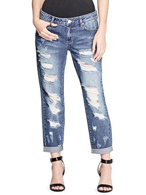ff5875a9b8e Guess Factory Poppi Extreme Destroy Boyfriend Jeans: Amazon.ca: Clothing &  Accessories