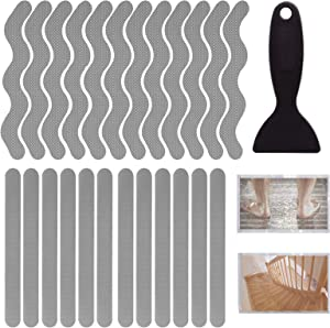 QJSHUA 24 PCS Mixing Anti Slip Bathtub Stickers with Premium Scraper, Safety Non-Slip Strips Adhesive Decals for Bathroom Tub Floors Pools Stairs Ladders (Gray)