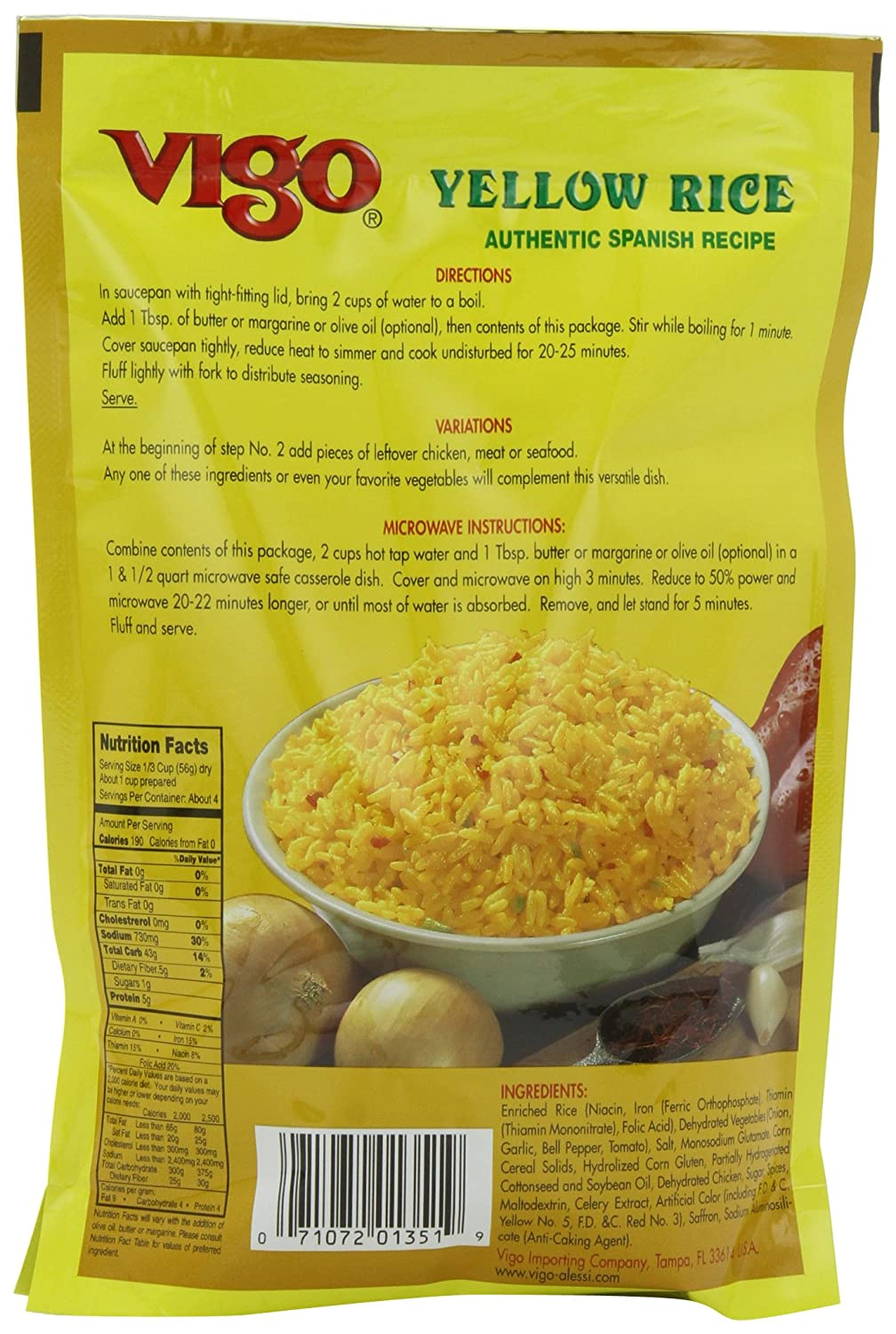 Amazon : Vigo Yellow Rice, 8ounce Bags (pack Of 12) : Dried White Rice  : Grocery & Gourmet Food