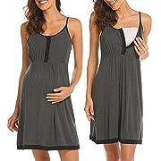Ekouaer Nursing Nightgown,Womens Labor/Delivery/Hospital Gown Maternity Dress Sleepwear Dark Grey