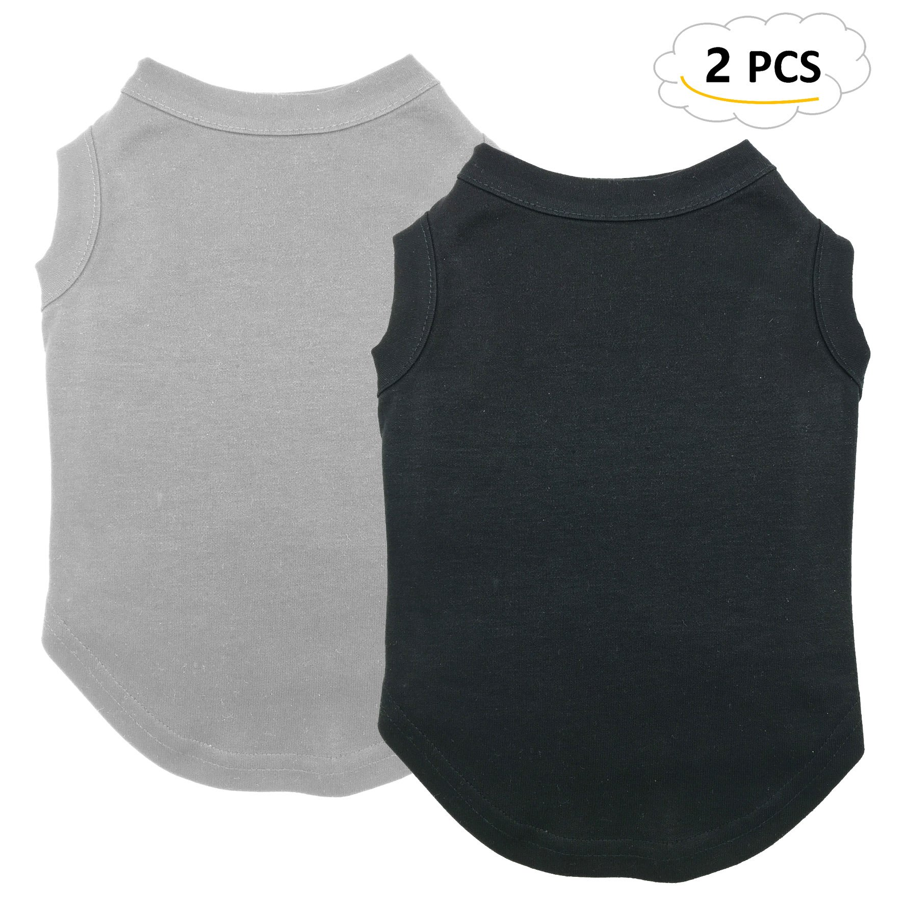 Chol & Vivi Dog Shirts Clothes, Dog Clothes T Shirt Vest Soft And Thin, 2pcs Blank Shirts Clothes Fit For Extra Small Medium Large Extra Large Size Dog Puppy, Large Size, Black And Grey