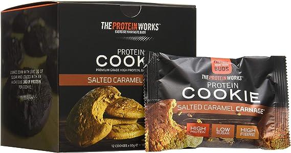 Galletas Proteicas | Altas en Proteínas, Snack Bajo en Azúcar | Alto en Fibra | Sin Gluten | THE PROTEIN WORKS | Salted Caramel Carnage | Caja de 12