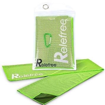 Relefree Toalla de refrigeración deportes, absorbente, reutilizable con bolsa impermeable y clip de escalada