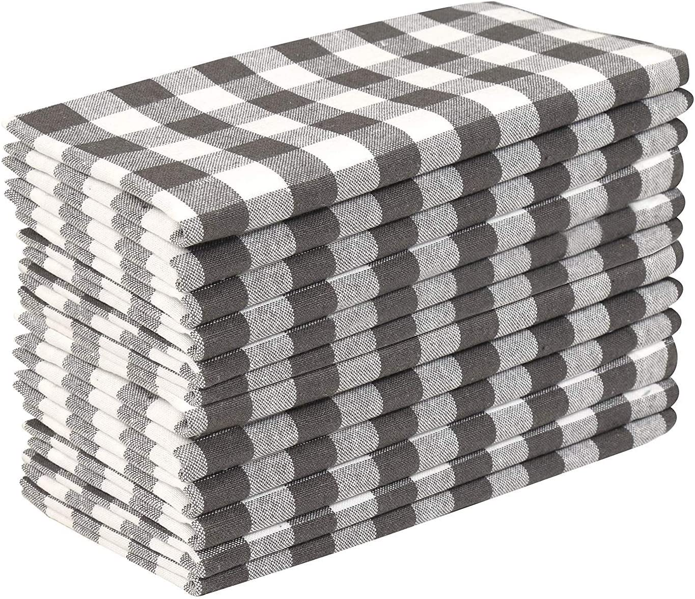 Cloth Dinner Napkin Gingham Plaid Check Fabric-18X18 Charcoal White, Wedding Napkins, Cocktails Napkins, Fabric Napkins, Cotton Napkins, Mitered Corners & Generous Hem, Dinner Napkins Set of 12