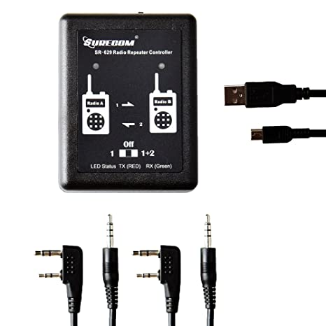 Mcbazel Surecom SR-629 2 in 1 Duplex Cross Band Radio Repeater Controller  with Radio Cable for Walkie Talkie