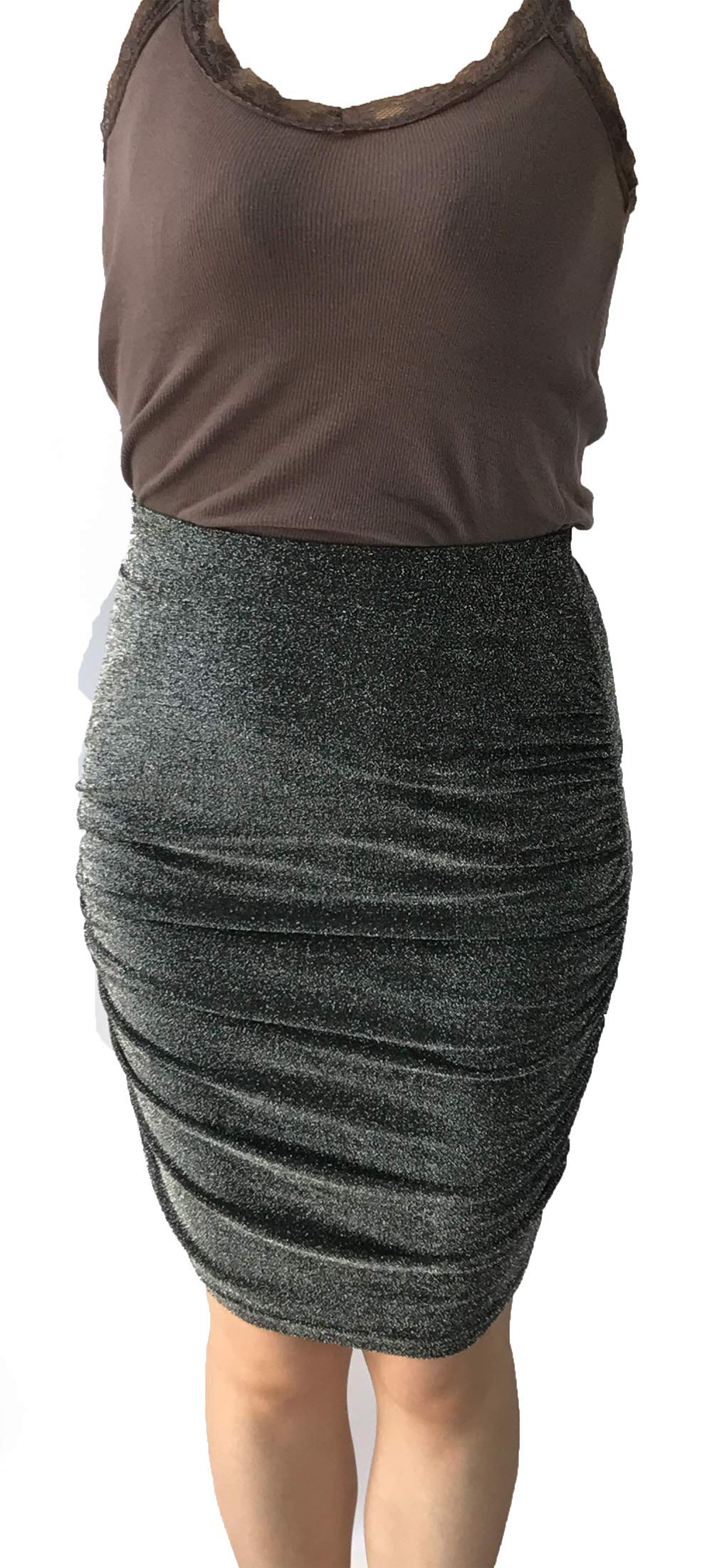 Blend 4 Thee Women Casual Shiny Pencil Skirt, Ruched Frill at Front Hip (Shiny Silver Lurex, S)